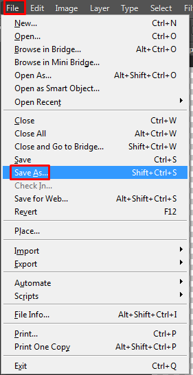 Select File and then Save As is shown