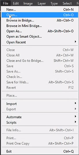 Select File menu and choose Open