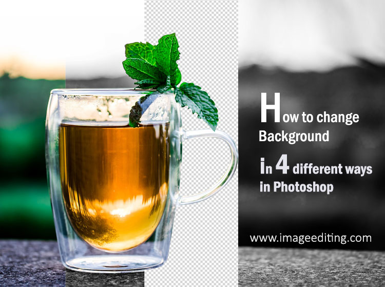 A cup of tea in 4 different background