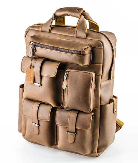 brown multi pocket leather bag