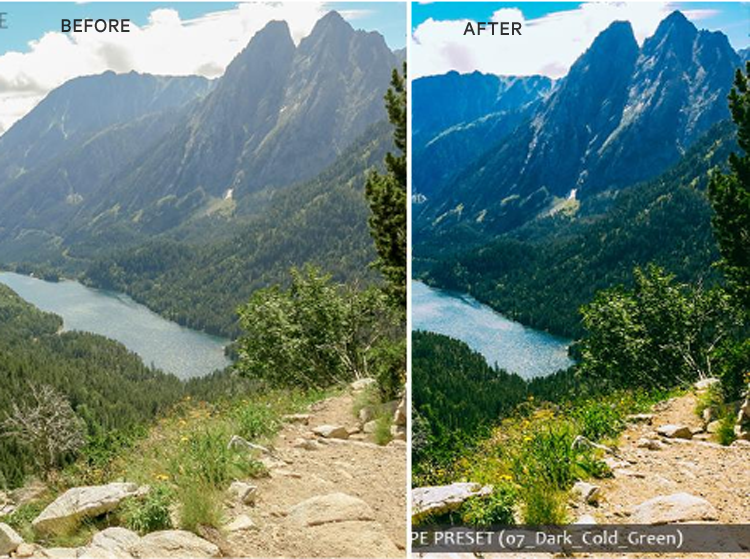 A landscape before and after effect on lightroom