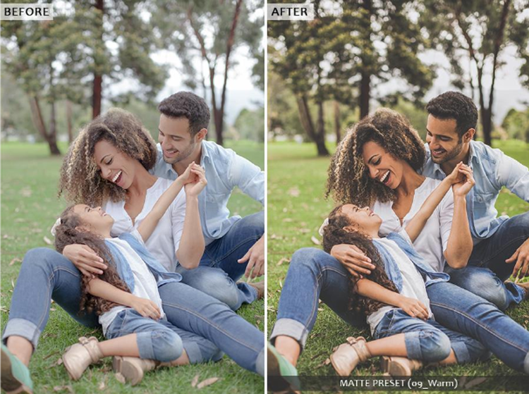 A family of three having a good time before and after effect